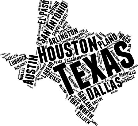 Texas  Word Map Word Cloud Typography Concept