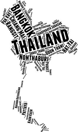 Thailand Word Map Word Cloud Typography Concept