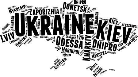 Ukraine  Word Map Word Cloud Typography Concept Illustration