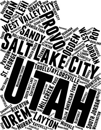 Utah  Word Map Word Cloud Typography Concept