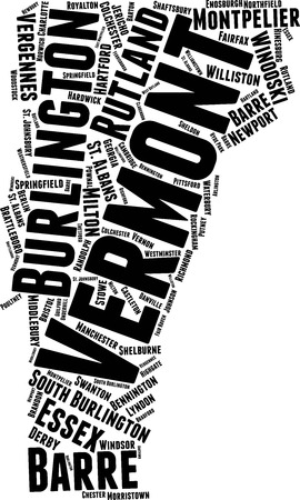 Vermont  Word Map Word Cloud Typography Concept