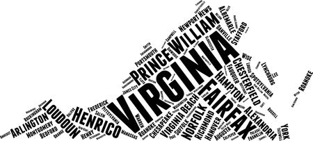Virginia  Word Map Word Cloud Typography Concept Illustration