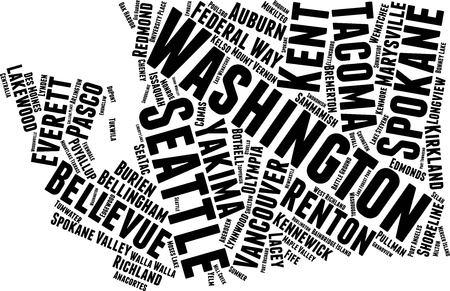 Washington  Word Map Word Cloud Typography Concept