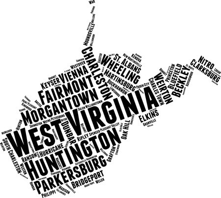 West Virginia  Word Map Word Cloud Typography Concept Illustration