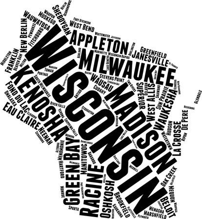 Wisconsin  Word Map Word Cloud Typography Concept  イラスト・ベクター素材