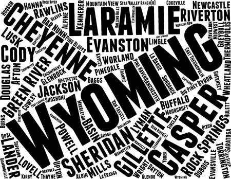 Wyoming  Word Map Word Cloud Typography Concept