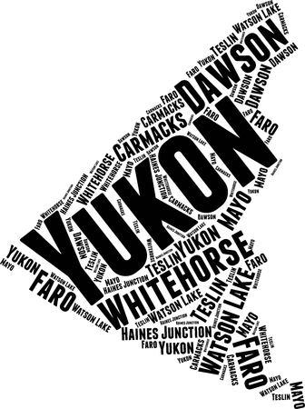 Yukon  Word Map Word Cloud Typography Concept