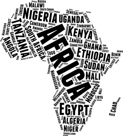 Africa  Word Map Word Cloud Typography Concept