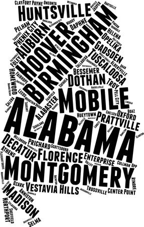 Alabama  Word Map Word Cloud Typography Concept Stock Illustratie