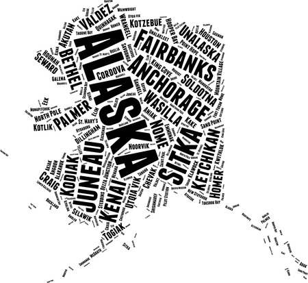 Alaska  Word Map Word Cloud Typography Concept