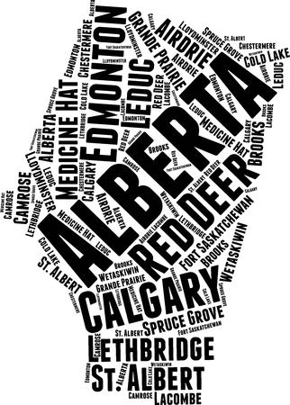 Alberta  Word Map Word Cloud Typography Concept Illustration