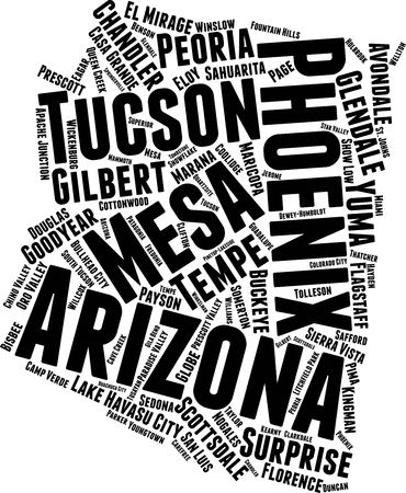 Arizona  Word Map Word Cloud Typography Concept
