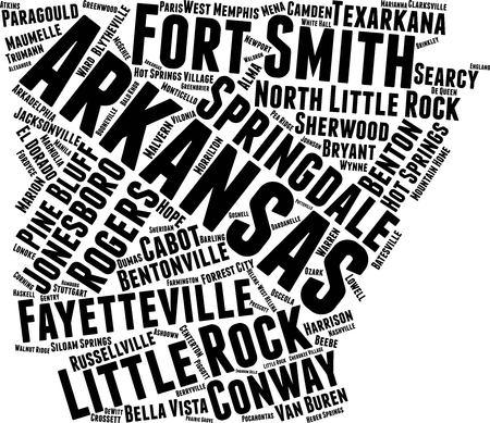 Arkansas Word Map Word Cloud Typography Concept Standard-Bild - 105203101