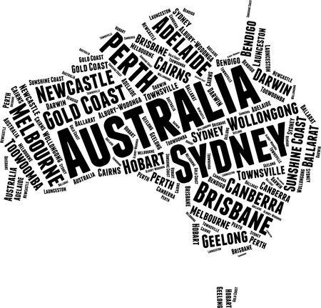 Australia  Word Map Word Cloud Typography Concept