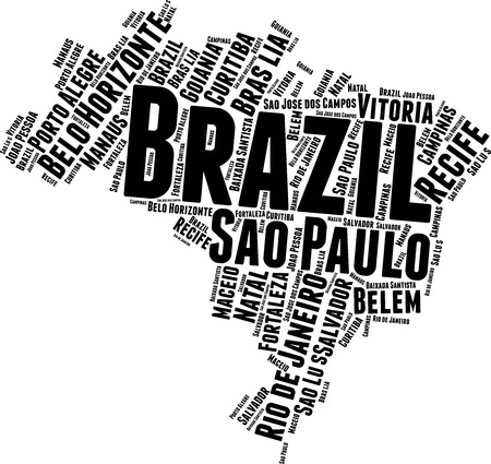 Brazil  Word Map Word Cloud Typography Concept