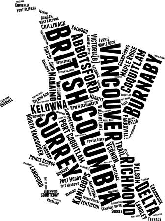 British Columbia BC  Word Map Word Cloud Typography Concept