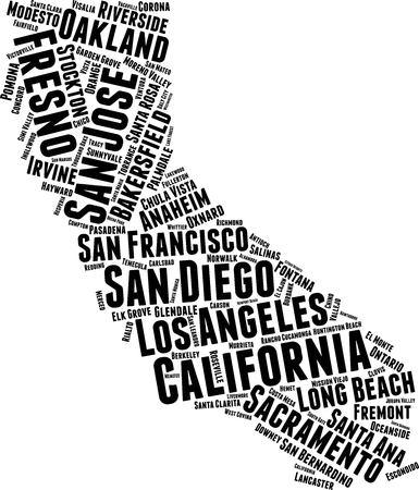 Californie Word Map Word Cloud Typographie Concept Vecteurs