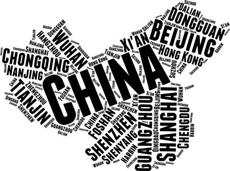 China  Word Map Word Cloud Typography Concept