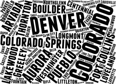 Colorado Word Map Word Cloud Typography Concept