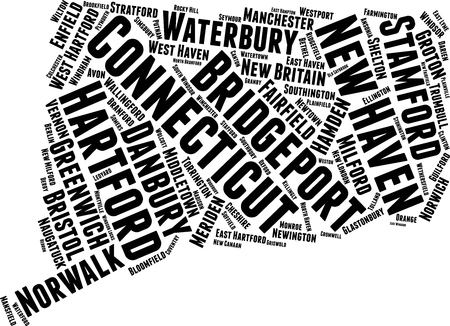 Connecticut  Word Map Word Cloud Typography Concept