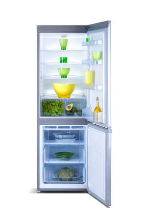 vertical fridge: refrigerator with open door with food