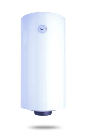 Electric water heater isolated on white, 100 liters Stock Photo