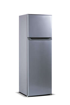 Grey refrigerator isolated on white, top freezer. Fridge freezer