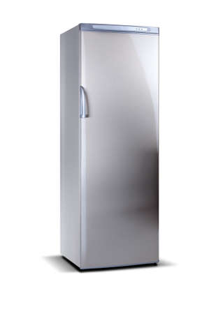 Stainless steel big freezer, grey metallic, isolated on white. 写真素材
