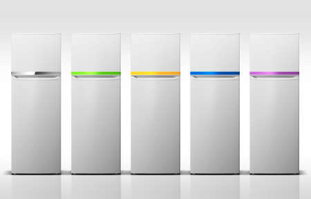 refrigerators: Five white refrigerators with Color line. On white background.