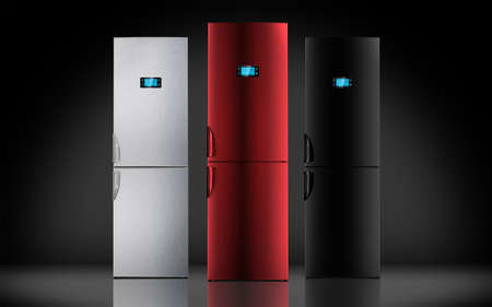 pult: Red steel and black refrigerator, LCD monitor, pult, backlight, touch screen, buttons