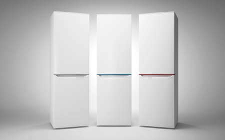 Three white refrigerators with Color line. On white background.