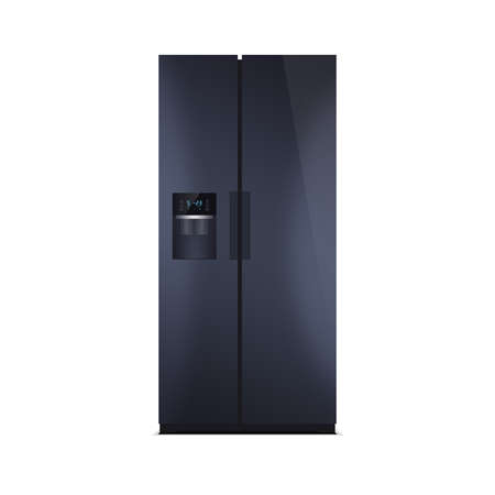 led display: American style fridge freezer isolated on white. The external LED display, with blue glow. Modern refrigerator in dark blue color. Glossy piano black finish. Stock Photo