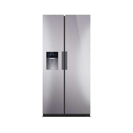 American style fridge freezer isolated on white. The external LED display, with blue glow. Modern refrigerator, stainless steel finish.
