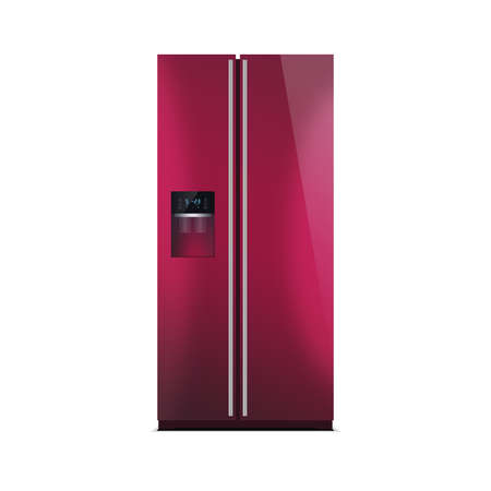 led display: American style fridge freezer isolated on white. The external LED display, with blue glow. Modern refrigerator in cherry color.