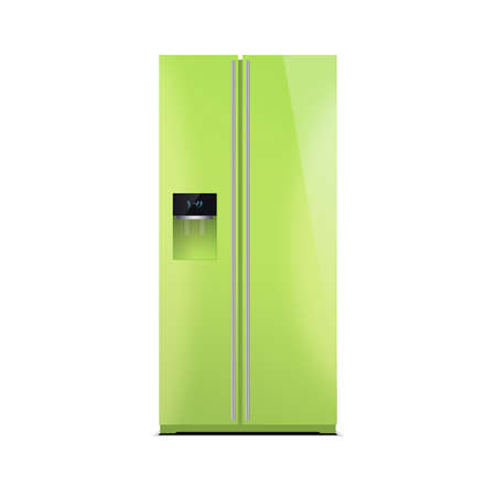 led display: American style fridge freezer isolated on white. The external LED display, with blue glow. Modern refrigerator in lime green color.