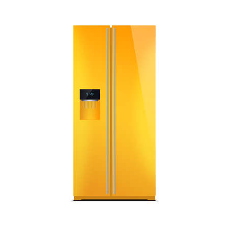 led display: American style fridge freezer isolated on white. The external LED display, with blue glow. Modern refrigerator in yellow color.