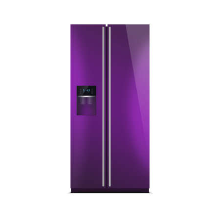 led display: American style fridge freezer isolated on white. The external LED display, with blue glow. Modern refrigerator in purple color.