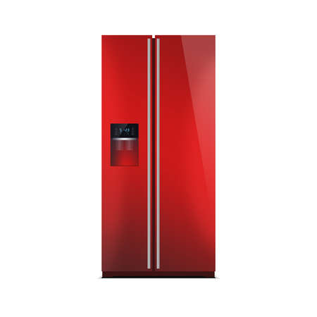 led display: American style fridge freezer isolated on white. The external LED display, with blue glow. Modern refrigerator in red color.
