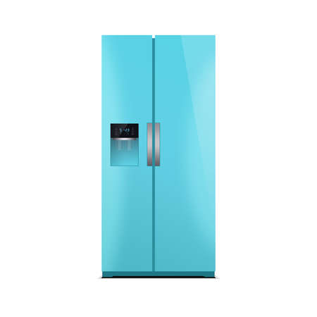 led display: American style fridge freezer isolated on white. The external LED display, with blue glow. Modern refrigerator in blue color.