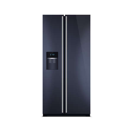 led display: American style fridge freezer isolated on white. The external LED display, with blue glow. Modern refrigerator in black color. Stock Photo