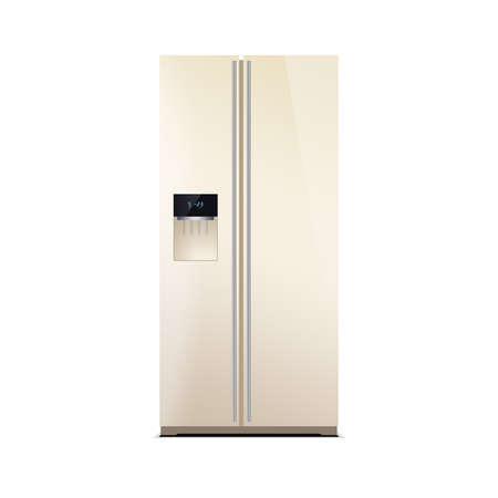 led display: American style fridge freezer isolated on white. The external LED display, with blue glow. Modern refrigerator in beige color.