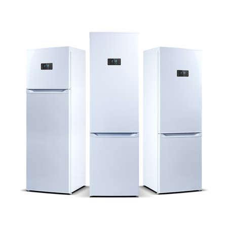 led display: Three refrigerators isolated on white. The external LED display, with blue glow. Fridge freezer.