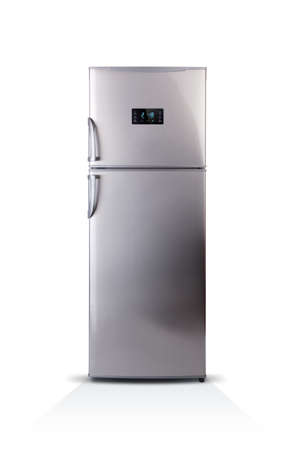 Stainless steel modern refrigerator isolated on white. The external LED display, with blue glow. Fridge freezer. 写真素材