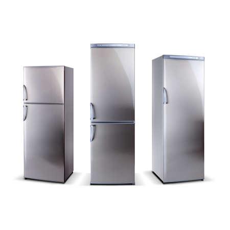 세 스테인레스 스틸 냉장고는 흰색에 고립 스톡 콘텐츠