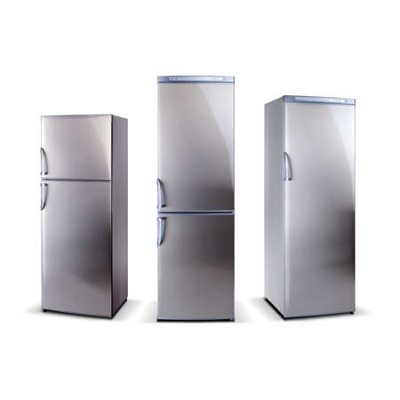 refrigerator with food: Three stainless steel refrigerators isolated on white