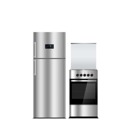 kitchen equipment: Household appliances on a white background. Stainless steel color refrigerator and stove isolated on white. Silver. Fridge freezer. The external LED display, with blue glow. Gas Cooker, stove, oven.