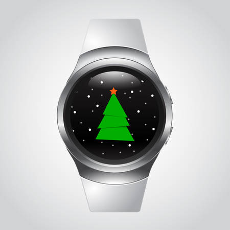 watch glass: Smart Watch with Christmas Tree and snow, glass ball, snowglobe