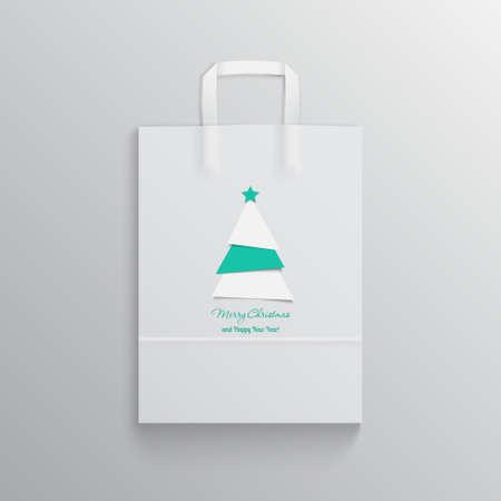 gift bag: Christmas shopping and gift bag, Mockup Illustration