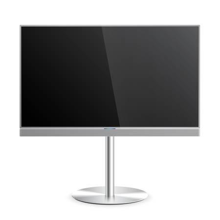 screen tv: Flat Smart TV Mockup with blank screen on the Floor Stand, soundbar, flat screen lcd, realistic, vector