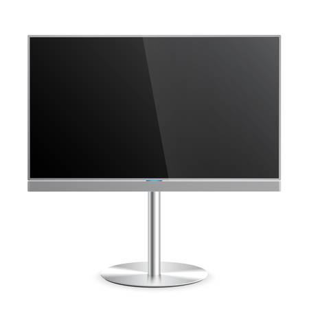 Smart TV plana maqueta con pantalla en blanco en el soporte de suelo, barra de sonido, pantalla plana LCD, realista, vector Ilustración de vector